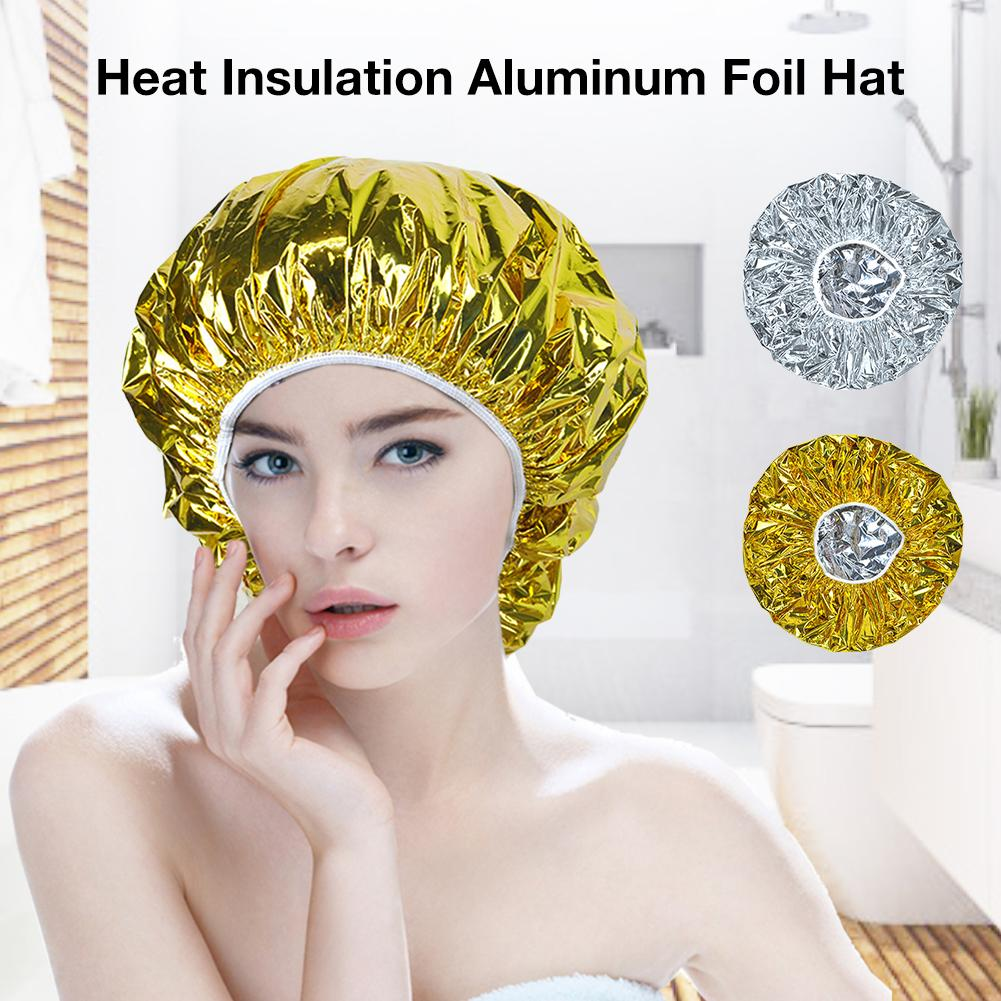 1Pcs Shower Cap Heat Insulation Aluminum Foil Hat Elastic Bathing Cap Hair Cover Adults Waterproof For Women Hair Salon Bathroom