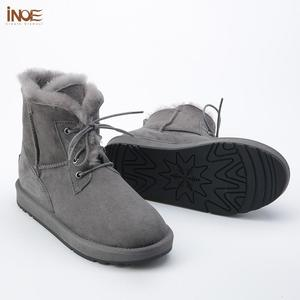 Image 5 - INOE Sheepskin Leather Wool Fur Lined Men Lace Up Short Ankle Winter Snow Boots For Man Casual Shoes Waterproof Black Brown Grey