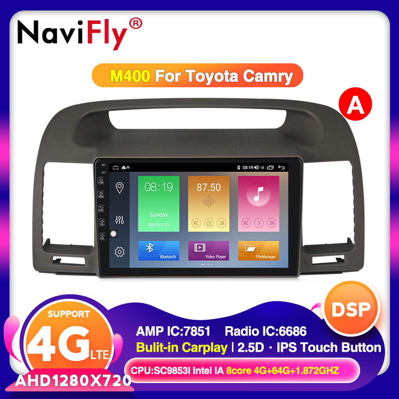NaviFly For Toyota Camry 5 XV 30 <font><b>2001</b></font> - 2006 Car Radio Multimedia Video Player Navigation GPS Android 10.0/9.0 No <font><b>2</b></font> <font><b>din</b></font> DVD image