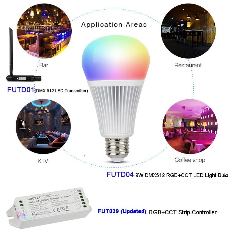 Miboxer FUTD04 DMX512 9W E27 RGB+CCT LED Light Bulb Lamp,FUTD01 DMX 512 LED Transmitter,FUT039 DMX512 RGB+CCT Strip Controller