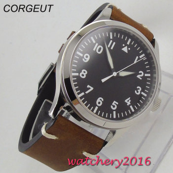 цена 42mm Corgeut black dial date sapphire crystal miyota  automatic mens watch онлайн в 2017 году