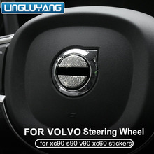 For Volvo XC60 S90 XC90 v90 s60 v60 metal+Rhinestone Steering wheel center trim decoration sticker 2ps Car Styling Accessories