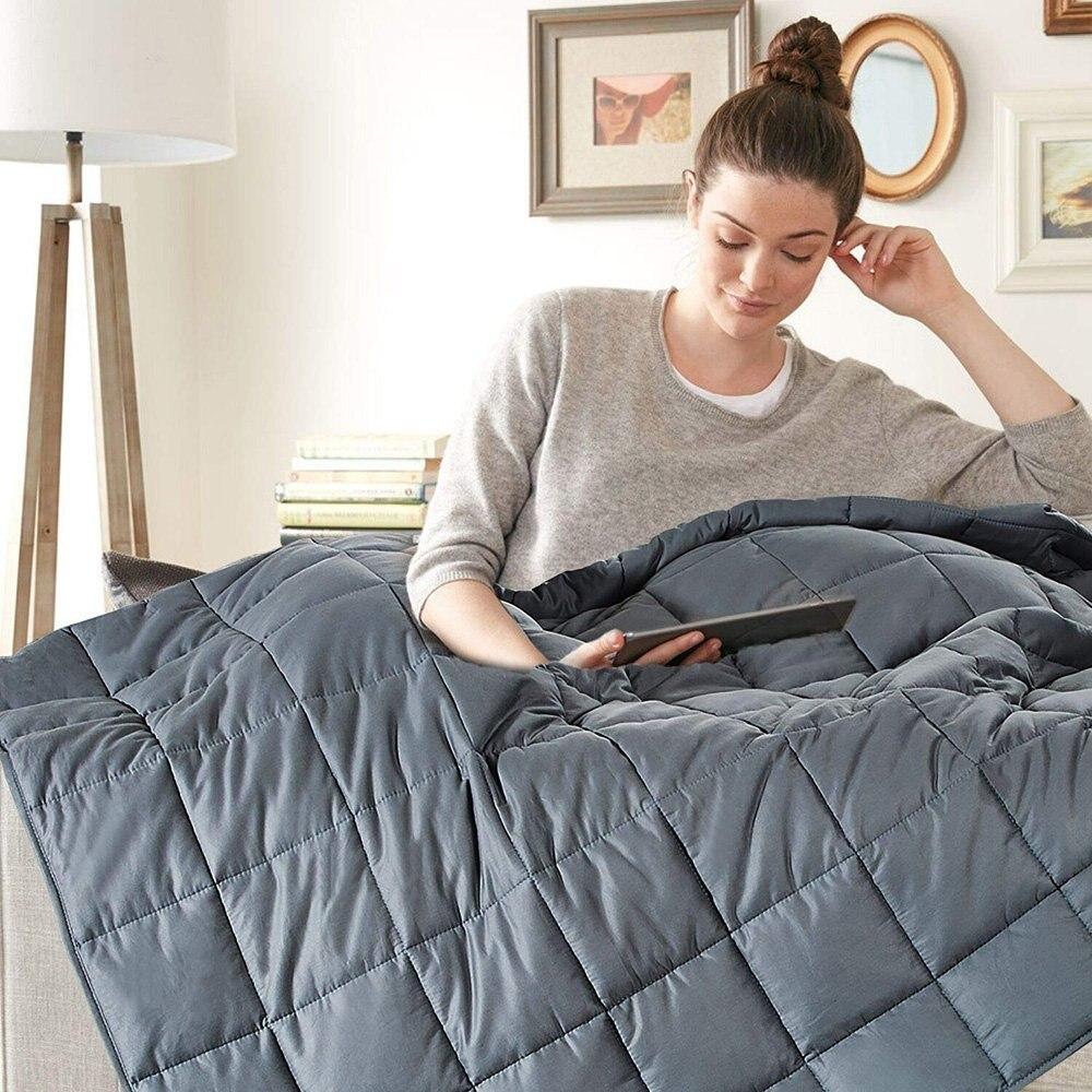 Couverture pondérée de 6.8kg/9kg | Housse lourde en coton, pleine reine, pour adulte, couvre lit et couette d