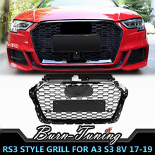 цена на Honeycomb Style ABS Grill For A3 S3 8V RS3 2017-2019 Front Bumper Racing Grills Car Styling With ACC With European Plate Holder