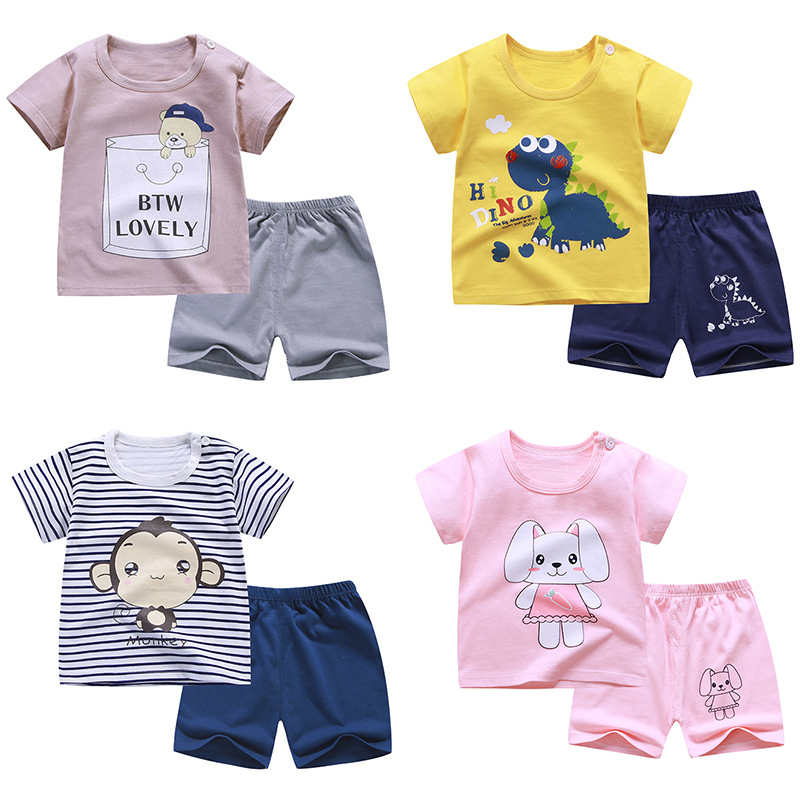 2020 Summer Children suits For Boys And Girls Short Sleeve Sets for <font><b>baby</b></font> boys two clothes T-shirt + Shorts Sets Toddler <font><b>Clothing</b></font> image
