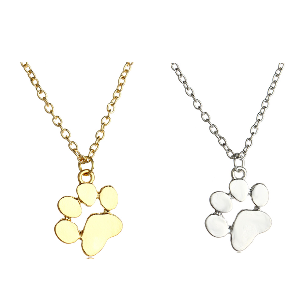 Women Rhinestones Crystal Dog Cat Paw Claw Pendant Chain Necklace Jewelry Gift