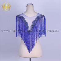 FZD 5 Sets Elegant Bodice Tassel Blue Beaded Patches and Rhinestone stripes for clothes with Gauze for Wedding Dress Decorative