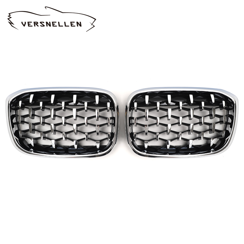 Front Kidney <font><b>Grill</b></font> For <font><b>BMW</b></font> <font><b>G01</b></font> G02 Bumper Racing Grille <font><b>X3</b></font> X4 ABS Chroming Silver Car Styling xDrive20i xDrive30i 2018 up image
