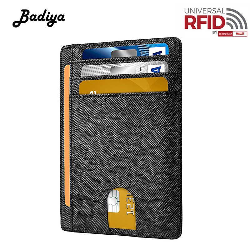 Portfel męski z prawdziwej skóry RFID szczotka antykradzieżowa solidna portmonetka ze skóry bydlęcej pozycja wielu kart posiadacz karty z wieloma kartami