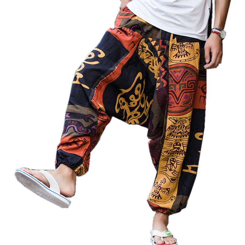 Punk Street Star Male Cross Pants Low Rise Lantern Pants Men Ultralarge Harem print Pants Hiphop Jogger Trousers harem pants