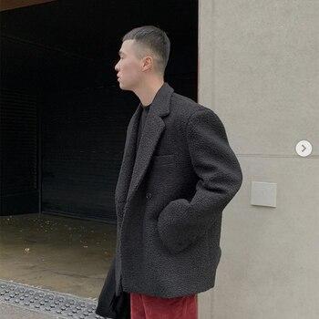 NEW Men Double Breasted Loose Casual Winter Wool Suit Jacket Overcoat Male Streetwear Vintage Blazer Coat Outerwear