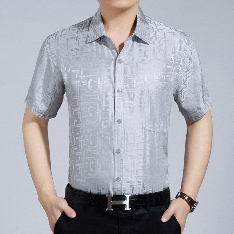 2020 New Summer Real Silk Shirt Men White Short Sleeve Shirt Formal Man Shirts High Quality Camisa Masculina KJ1943