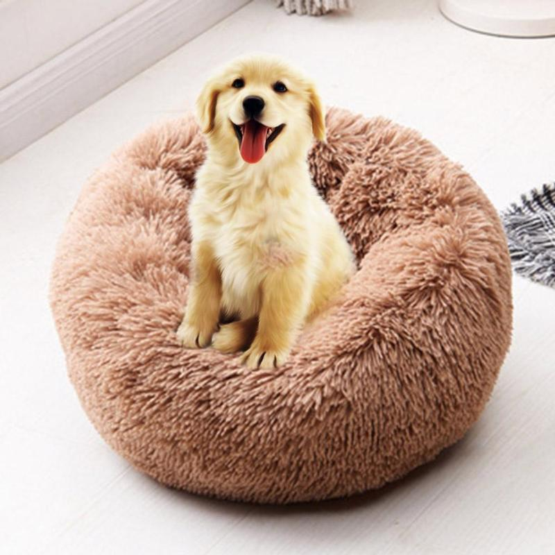 Round Dog Bed Washable Long Plush Dog Kennel Cat House Super Soft Cotton Mats Sofa For Dog Basket Pet Warm Sleeping Bed 6 Colors