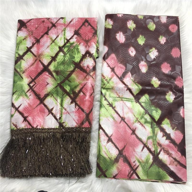 Nouveau style Bazin brode tissu brocart africain tissu avec gland bazin riche brode pour femme robe 5 + 2 yards/lot