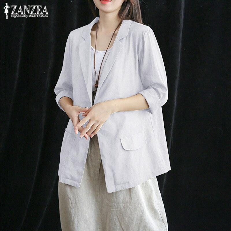 ZANZEA 2019 Women's Blazers Stylish Single-button Coats Fashion 3/4 Sleeve Linen Outwaer Female Jackets Plus Size Solid Tunic