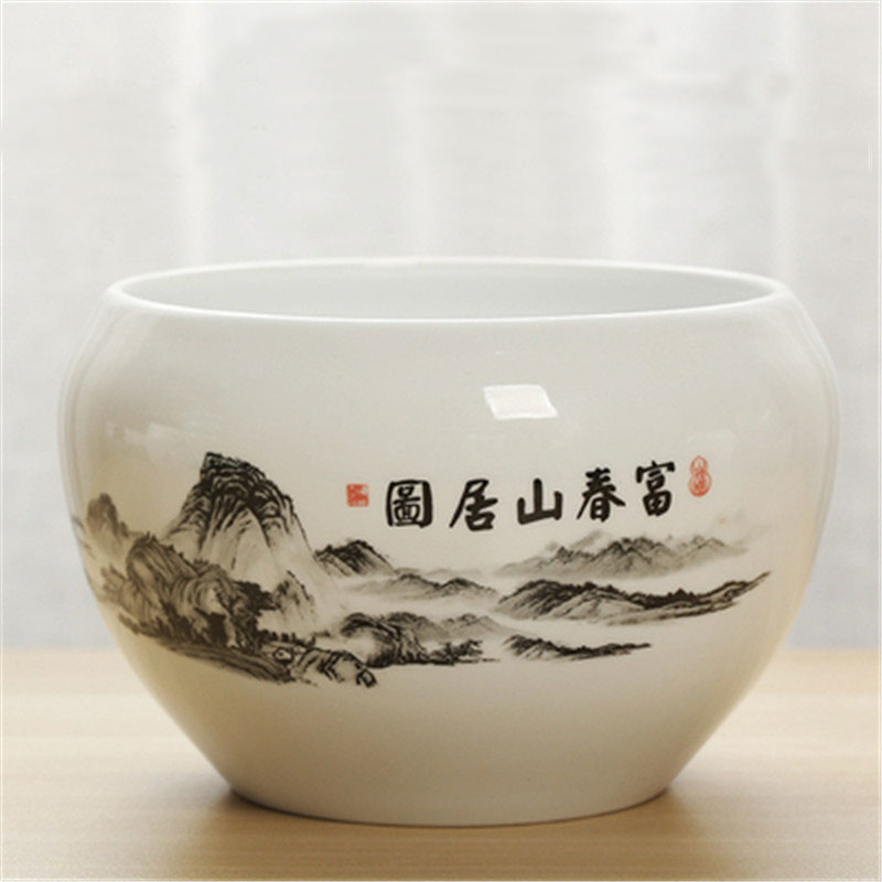 Writing brush pen washer bowl pot  tea wash pottery zhisha purple clay flower jar pot 1pc