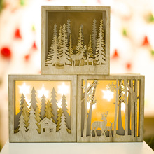 DIY Creative Wooden Light Small Box Christmas Ornaments For Home Party Ornament Decorations Kids Gift Supplies
