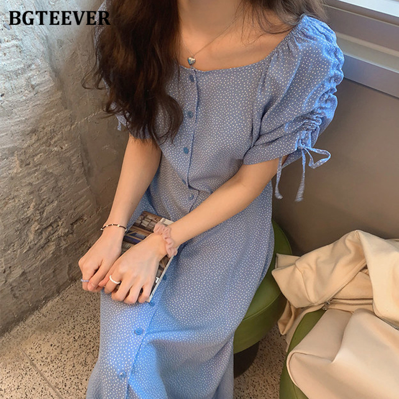 BGTEEVER Chic Single-breasted Women Dress Casual O-neck Polka Dots Lace-up Vestidos Femme Summer Ruched Sleeve Female Dress 2020