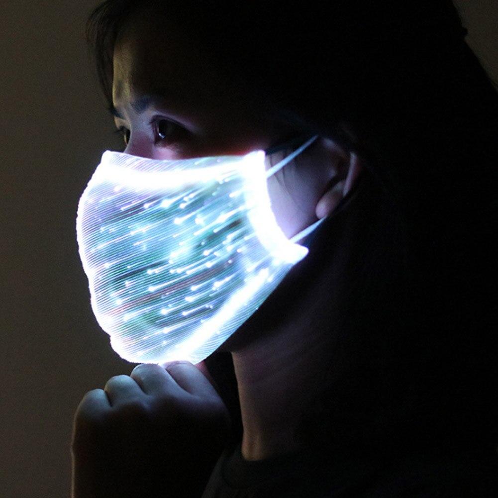 LED Flashing Mask Chargeable Colorful Dust Mask Fiber Optic Fabric Mask NFE99