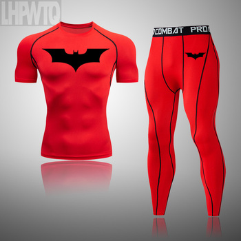 Batman Men Gym Fitness Clothing Sportswear Quick Dry Compression Suits Men #8217 s Running Set Fitness Tight Suit Outdoor Jogging tanie i dobre opinie LHPWTQ O-neck Swetry Pasuje prawda na wymiar weź swój normalny rozmiar Poliester Elastan This is an Asian size usually 1 size smaller than the European size
