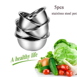 5pcs Multifunctional Thick Stainless Steel Pot Baking Egg Bowl Sink Dish Pot Kitchen Tool durable Wide-edge Basin pot sets
