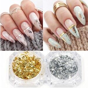 0.2g Gold Silver Luxury Nail Decoration Glitter Flakes Aluminum Foils Sequins Chrome Powder for Manicure Accessories GLCB01-08