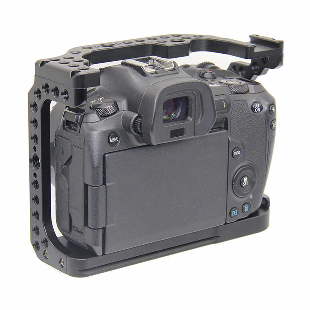 Protective Camera Cage for Canon EOS R w/ Coldshoe 3/8 1/4 Thread Holes Quick Release Plate Full Frame Camera Video Stabilizer