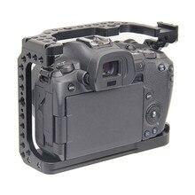 保護カメラケージキヤノン Eos R w/Coldshoe 3/8 1/4 穴クイックリリースプレートフルフレームカメラビデオスタビライザー