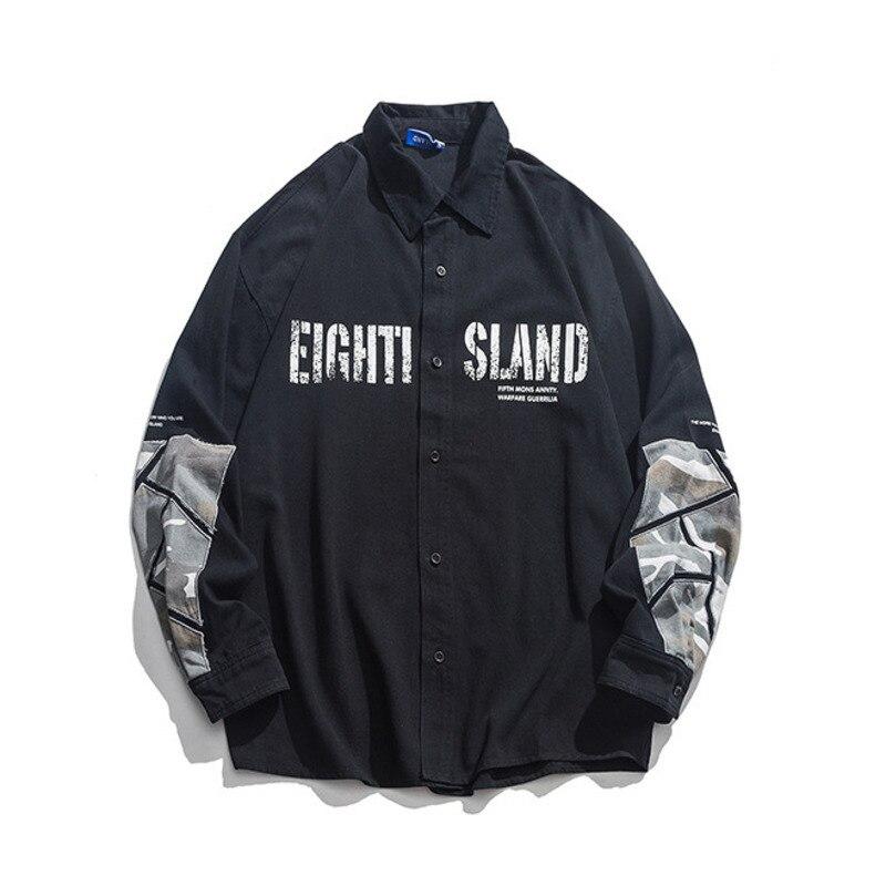 #1449 noir rose kaki épissé Camouflage hommes chemise à manches longues haute rue Hip Hop chemises pour hommes mode lâche décontracté Vintage