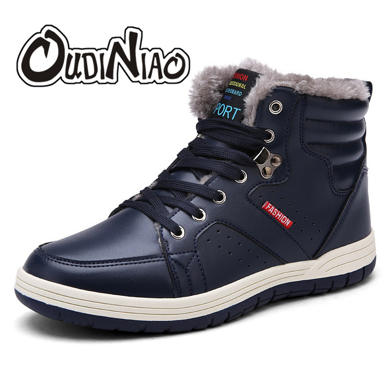OUDINIAO 2019 Fashion Men Winter Snow Boots Keep Warm Boots Plush Ankle Boot Snow Work Shoes Casual Men's Snow Boots Size 39-48