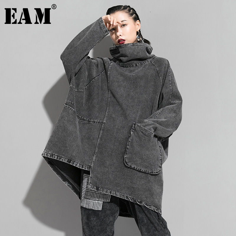 [EAM] Loose Fit Black Denim Oversized Sweatshirt New High Collar Long Sleeve Women Big Size Fashion Spring Autumn 2020 1K166