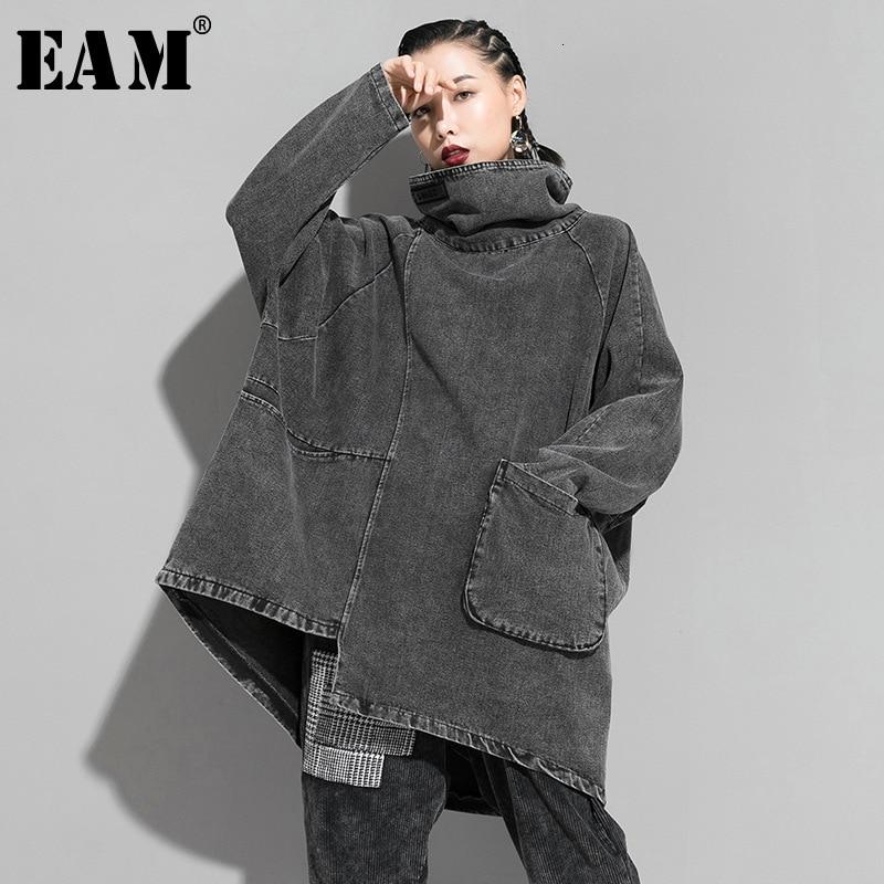 [EAM] Loose Fit Black Denim Oversized Sweatshirt New High Collar Long Sleeve Women Big Size Fashion Spring Autumn 2020 1K166