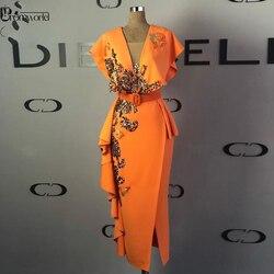 Женское вечернее платье до щиколотки, облегающее платье с блестками и рукавом-крылышком, оранжевое вечернее платье до щиколотки