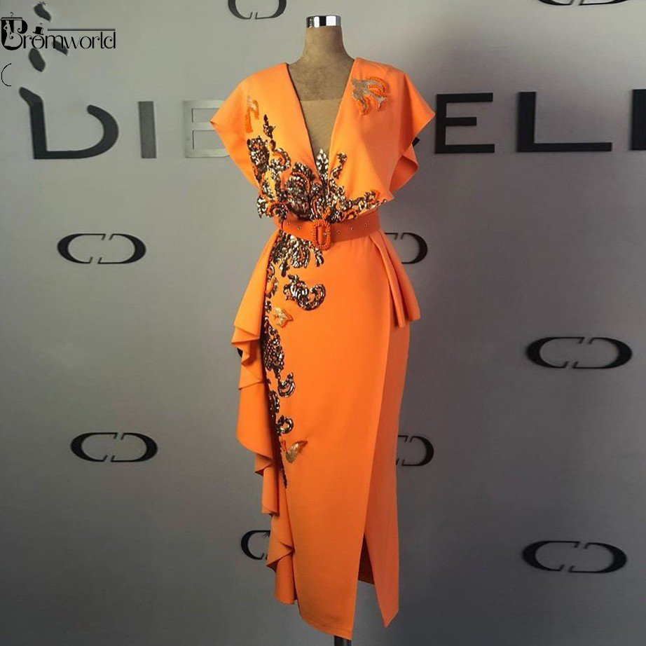 Real Evening Gown robe de soiree Sequins Sheath Formal Dress Orange Cap Sleeve Long Midi Calf Ankle-Length Evening Dresses abiye