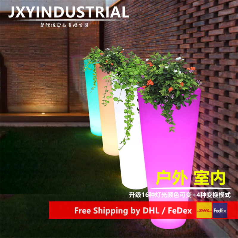 LED Flower Planter 16 Colour Change Rechargeable Remote Control LED Glowing Ice Bucket Pot