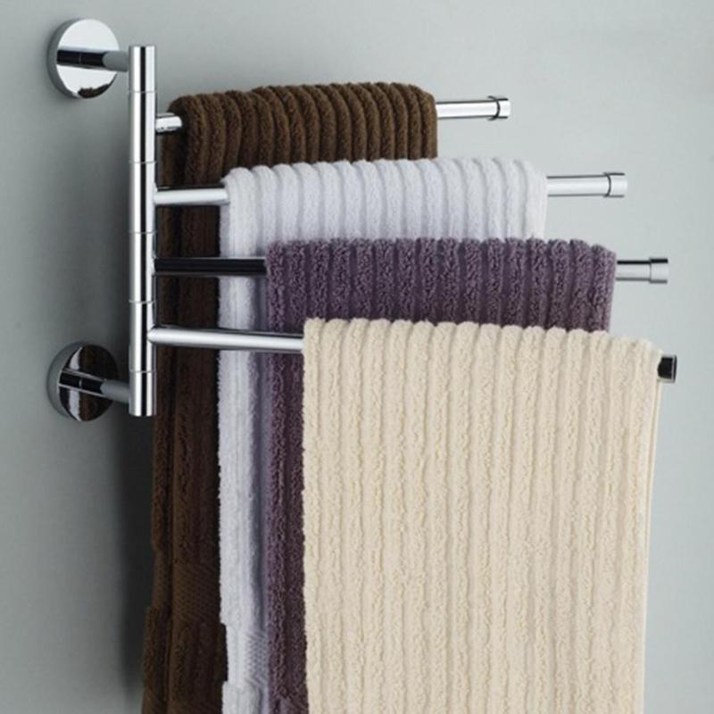 Bathroom Towel Rail Four Arm Swivel Towel Bar Rotating Stainless Steel Swing Hanger Towel Rack Space Saving Wall Mount Hanger