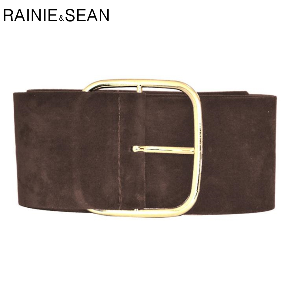 RAINIE SEAN Suede Belt Female Wide Cummerbunds For Women Fashion Ladies Dress Belts Black Army Green Camel Burgundy Brown Gray