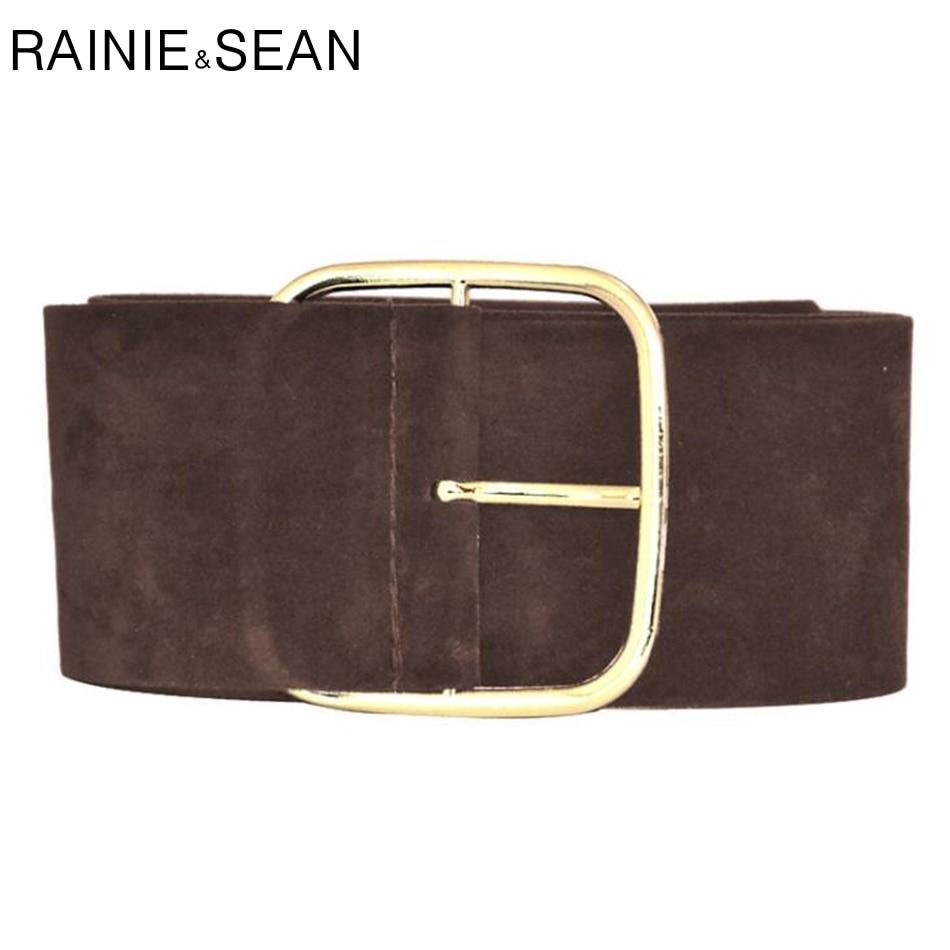 RAINIE SEAN Suede Belt Female Wide Cummerbunds For Women Fashion Ladies Dress Belts Black Army Green Camel Burgundy Brown Gray
