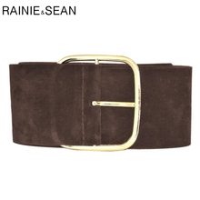RAINIE SEAN Suede Belt Female Wide Cummerbunds For Women Fas