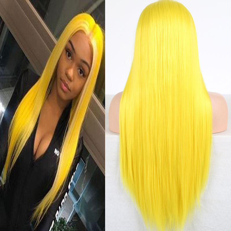 Hand-Tied Wig Daily-Wigs Synthetic-Hair Heat-Resistant-Fiber Lace-Front Natural Straight title=