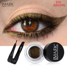 IMAGIC 3 Colors Gel Eyeliner Not Blooming Makeup Palette Matte Waterproof Long-lasting Eye Liner Gel Cream with Brush