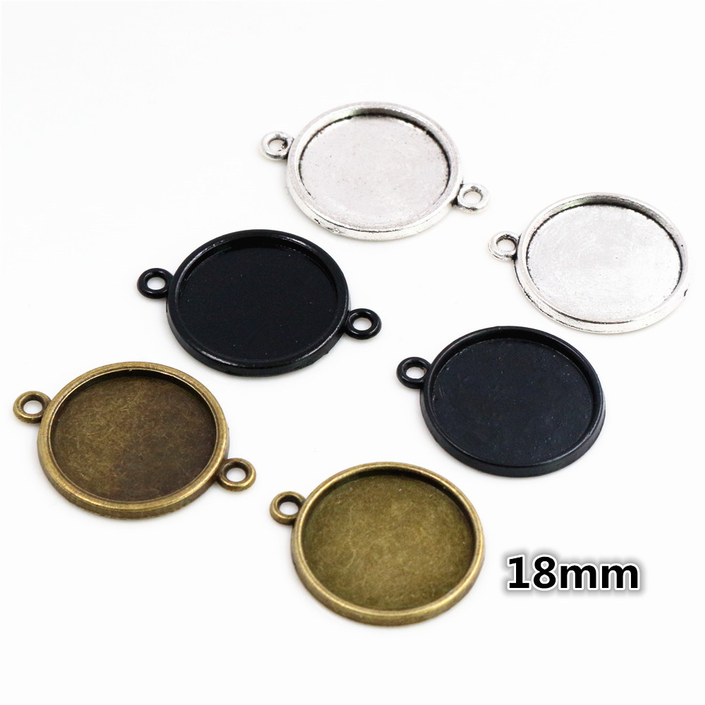 20pcs 18mm Inner Size Antique Bronze And Silver And Black Plated 6 Simple Style Cabochon Base Cameo Setting Charms Pendant