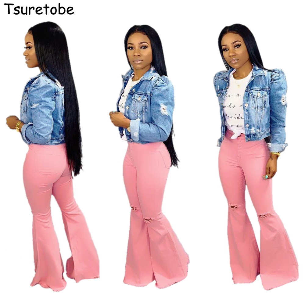 Tsuretobe Ripped Jeans For Women High Waist Flare Jeans Vintage Bell Bottom Jeans Pink Denim Wide Leg Pants Female Trousers