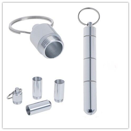 4 grilles boîte à pilules boîte bouteille étanche en aluminium porte-médicaments conteneur soins de santé porte-clés boîte à médicaments