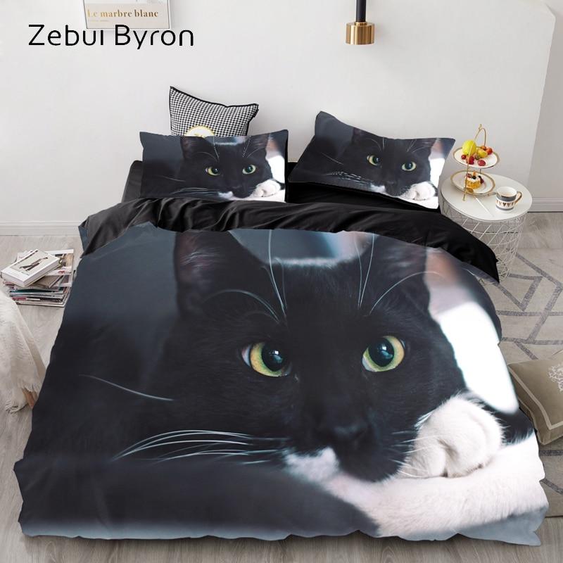 3D Luxury Bedding Set Custom/King/Europe/USA,Duvet Cover Set,Quilt/Blanket Cover Set,Bed Set Animal Cute Cat Pattern,drop Ship
