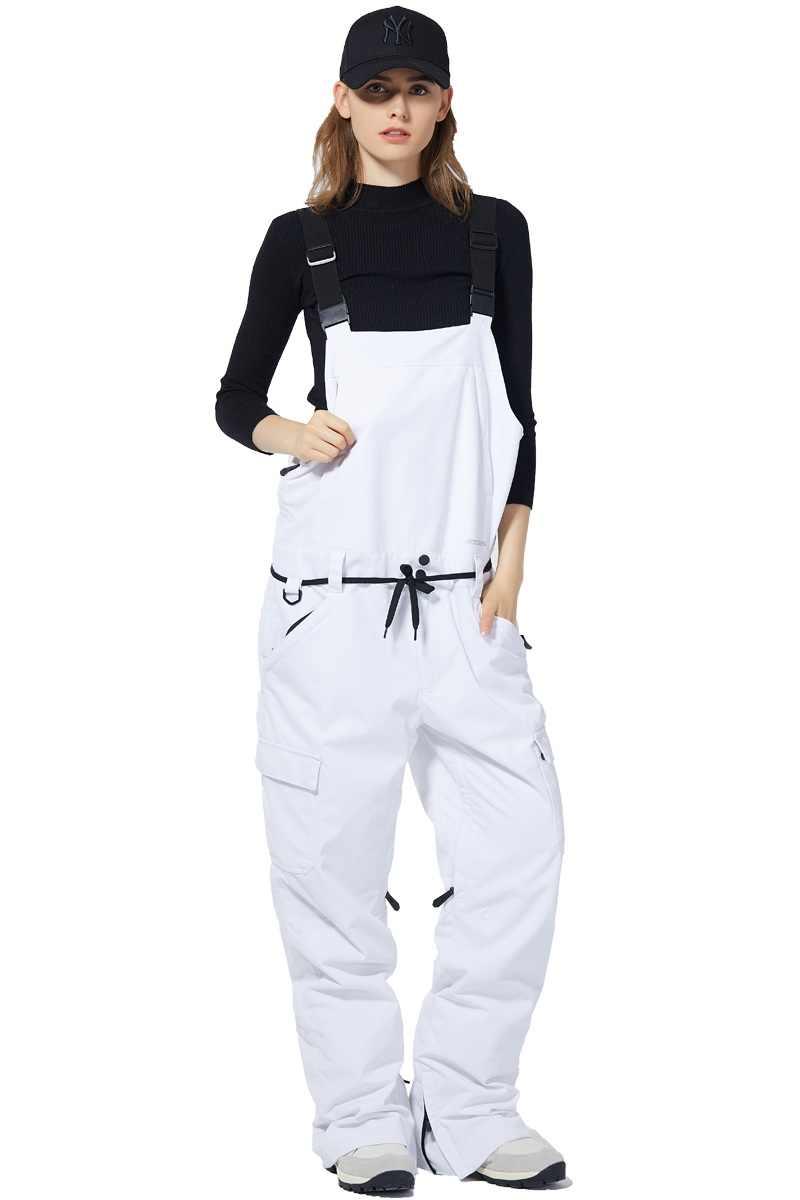 Womens Insulated Bib Overalls Pocket Suspenders Trousers Waterproof Snow Ski Bib Overalls Windproof Snowboarding Pants