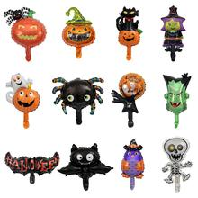 10pcs/lot Mini Size Cartoon Halloween Pumpkin Spider Bat Happy Halloween Day Foil Air Balloons Party Decoration Kids Toys