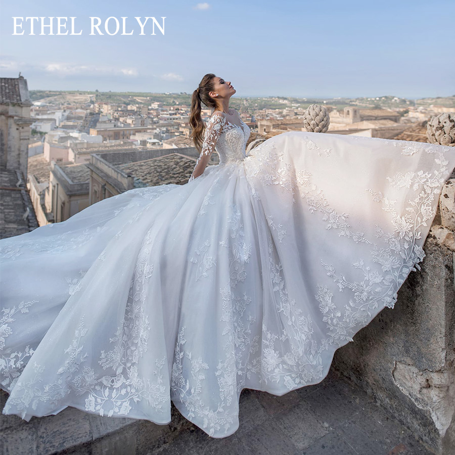 ETHEL ROLYN Long Sleeves Wedding Dress 2020 Romantic Appliques Bridal Dress Lace Up A-Line Princess Wedding Gowns Robe De Mariee