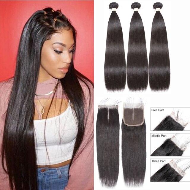 BEAUDIVA שיער טבעי חבילות עם סגירה ישר ברזילאי שיער 3 4 חבילות עם סגירת רמי שיער Weave