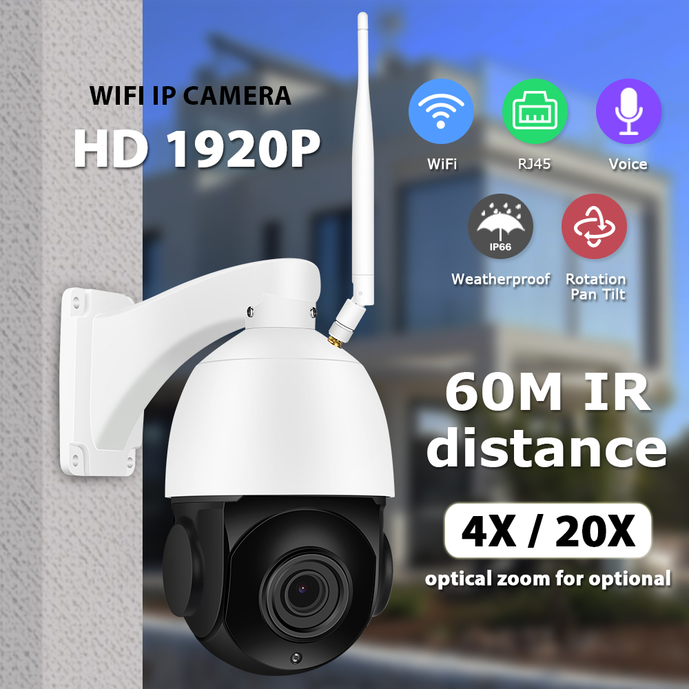 Zoohi Super HD PTZ Wireless Camera Outdoor IP Camera Two Way Audio 1920p Rotatable Dome Survellance Security Cameras WIFI 5MP IR